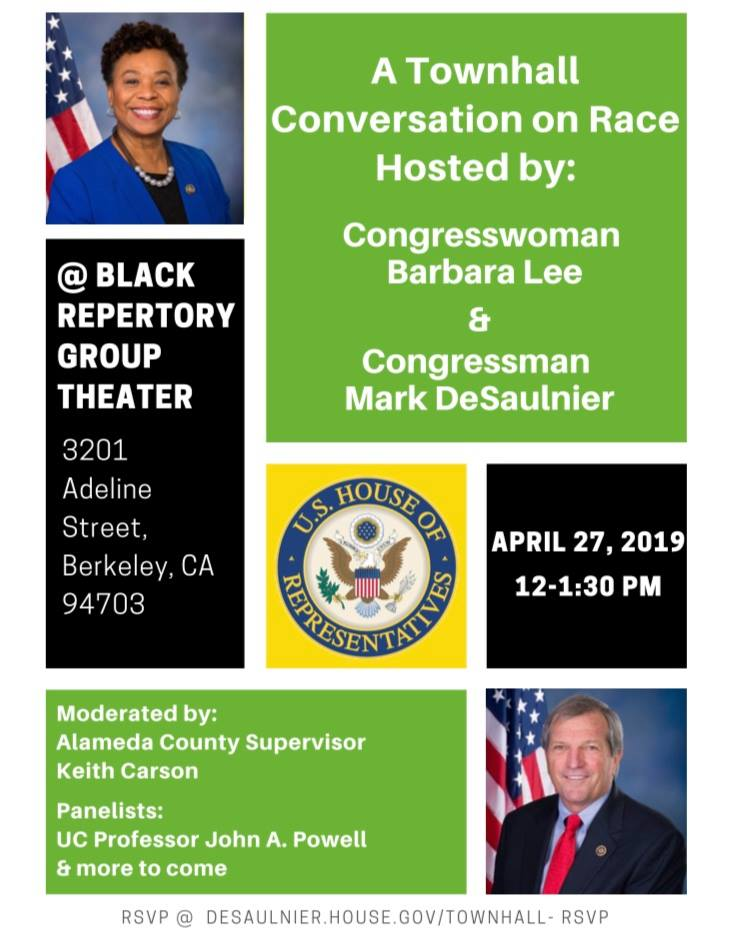 Flier for a town hall meeting hosted by Barbara Lee and including john powell
