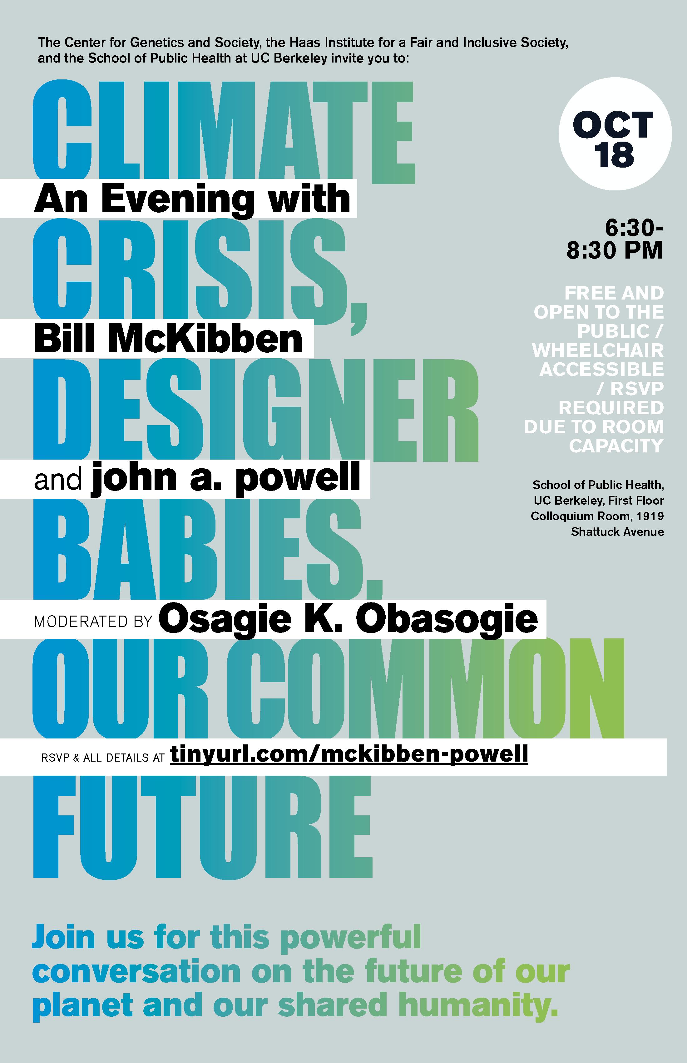 Flier for the john powell/bill mckibben talk