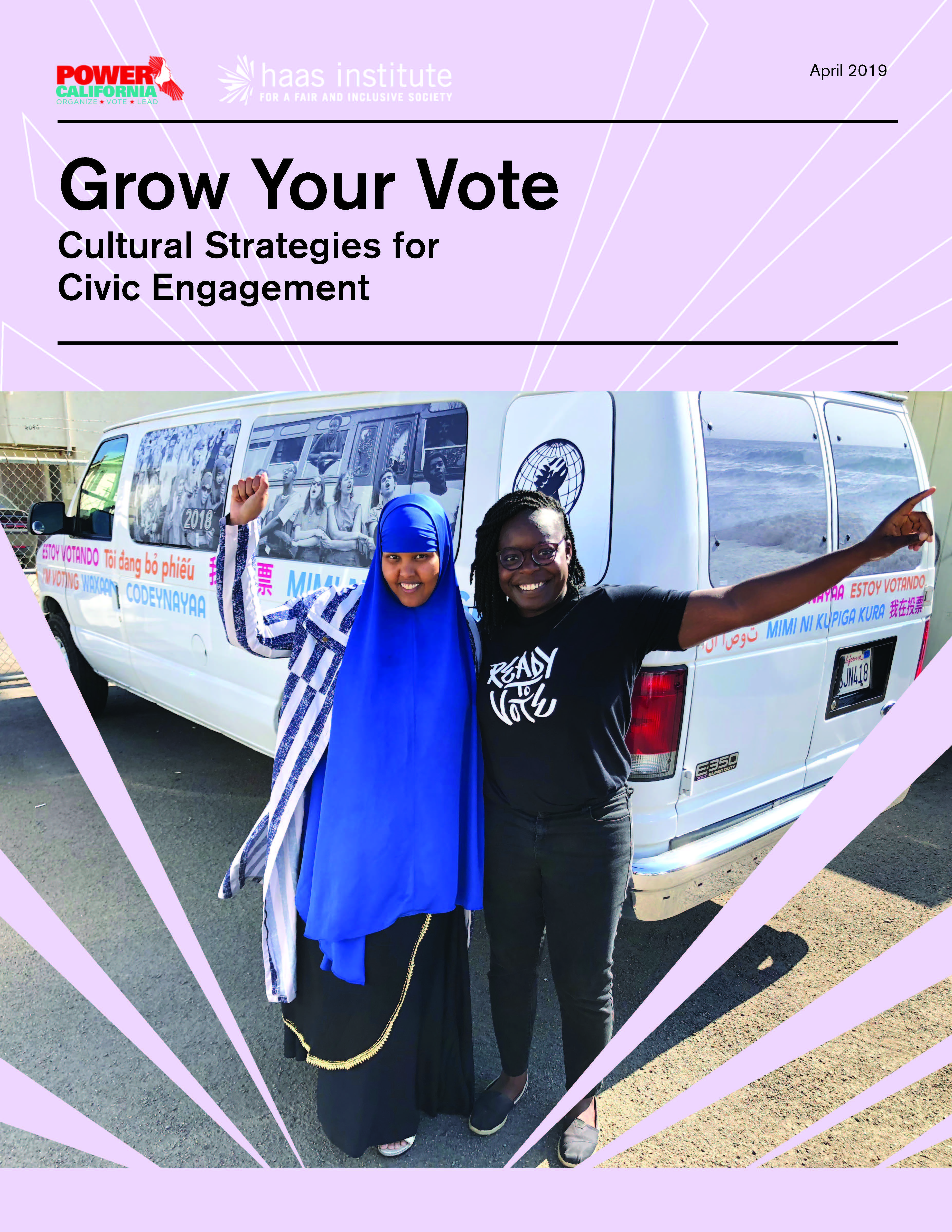 Cover of the Cultural Strategy Report shows two women, one wearing a blue hijab, making victory gestures in front of a white van