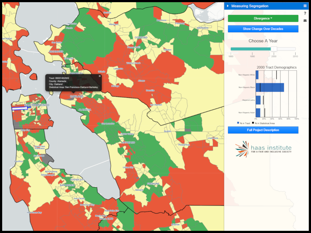 An image grab from an interactive map shows an overview of the segregation levels in the bay area