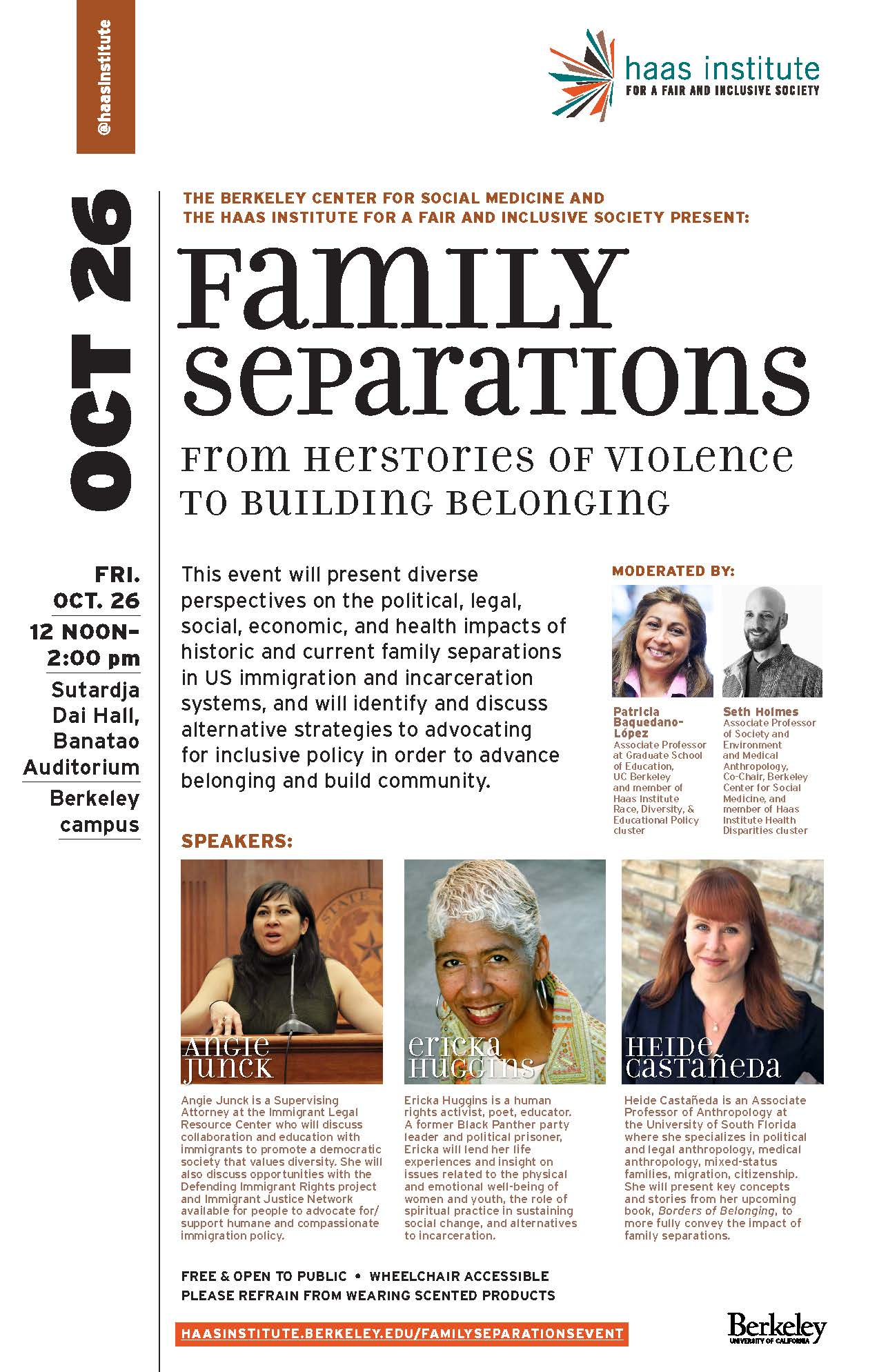 Flier for the Oct. 26 Family Separations event