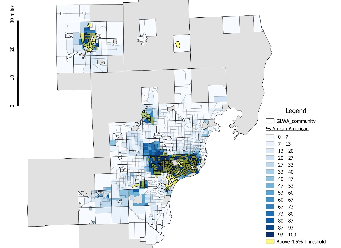 Figure 21: Census Tracts by Percent African American and Above 4.5 percent RI Threshold