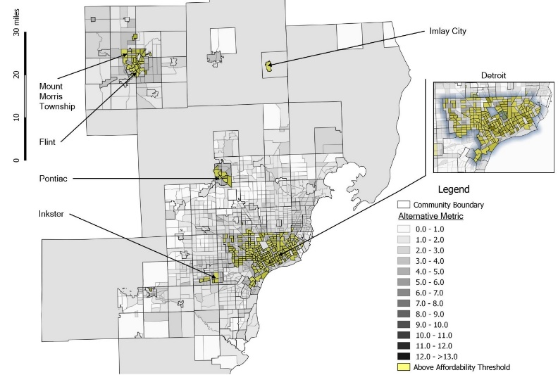 Figure 6: Unaffordable areas for drinking and wastewater costs when using census tract MHI as an affordability threshold