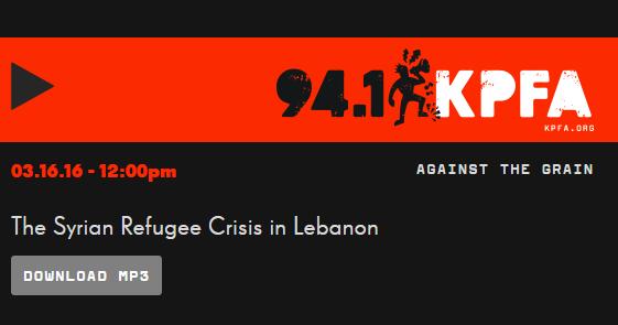 KPFA Syrian Refugee Crisis Audio Link