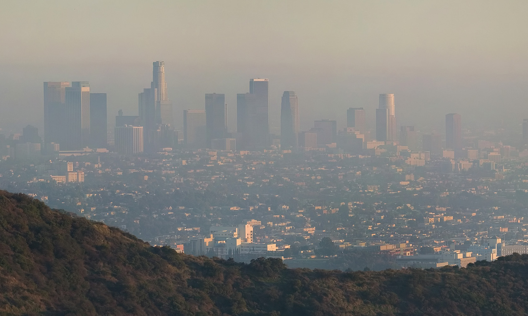 A shot of Los Angeles through thick smog