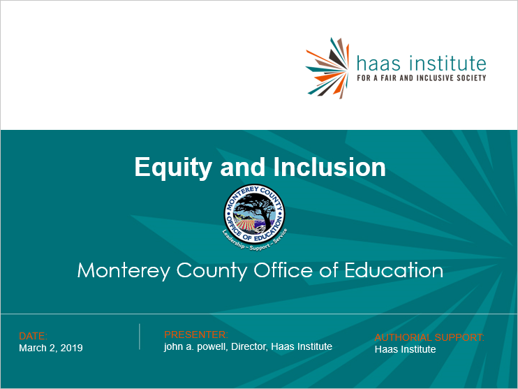 Title slide for the ALL IN for Equity conference in Monterey County