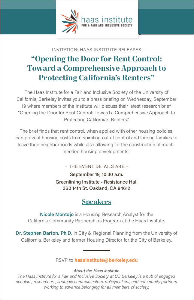 flier for the sept. 19 2018 rent control talk