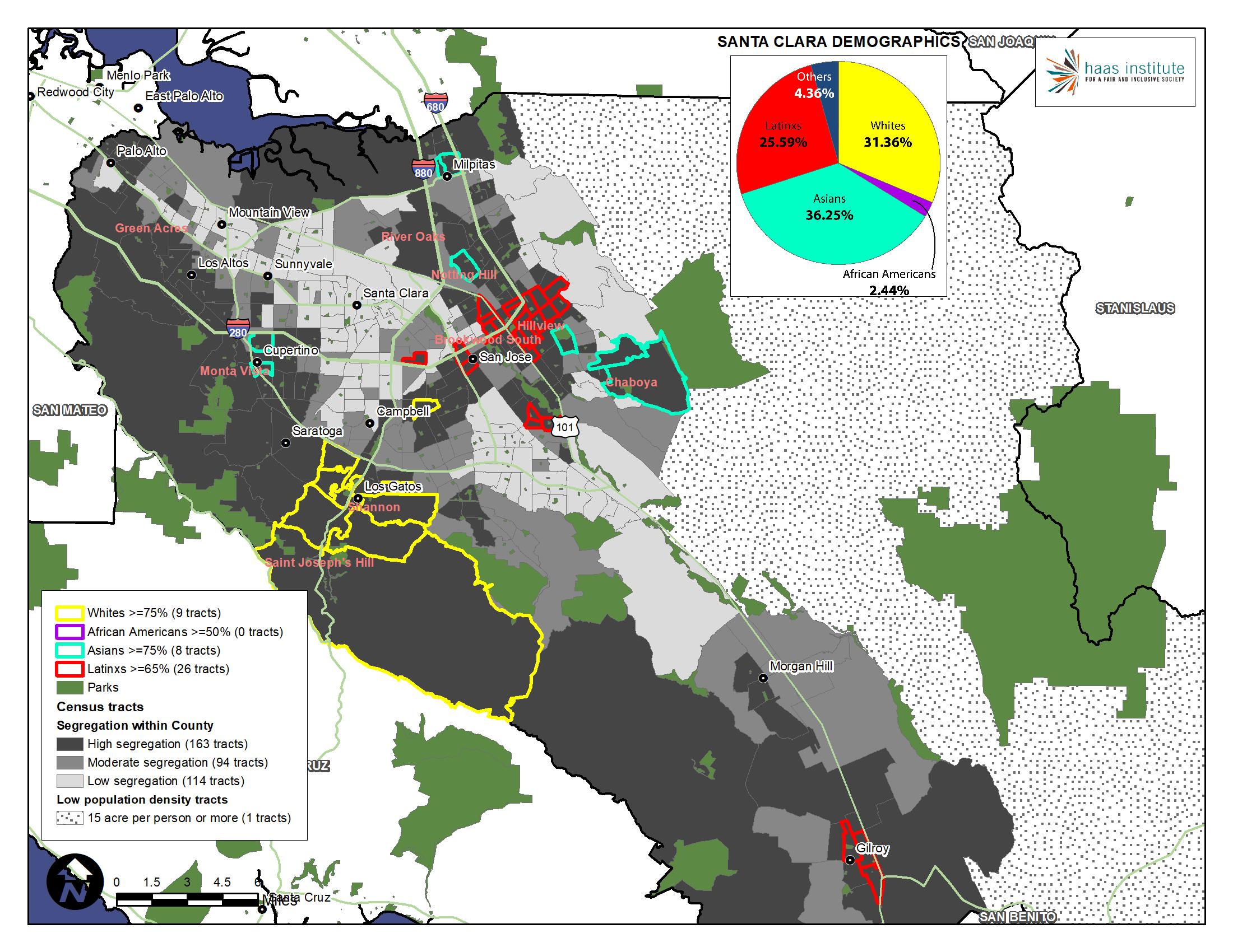 Map shows demographics of Santa Clara County