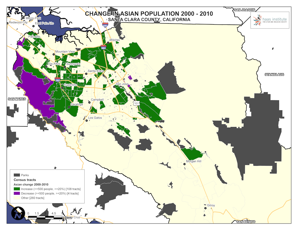 Map shows change in the Asian population in Santa Clara County from 2000 - 2010