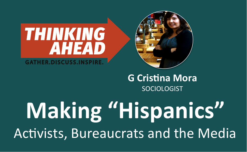 Flier for Thinking Ahead event with Cristina Mora